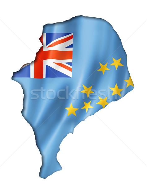 Tuvalu bandeira mapa tridimensional tornar isolado Foto stock © daboost