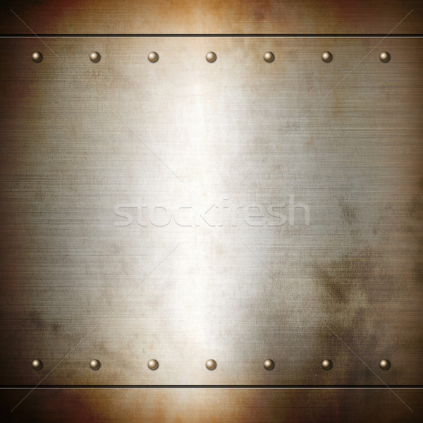 Rusty steel riveted brushed plate texture Stock photo © daboost