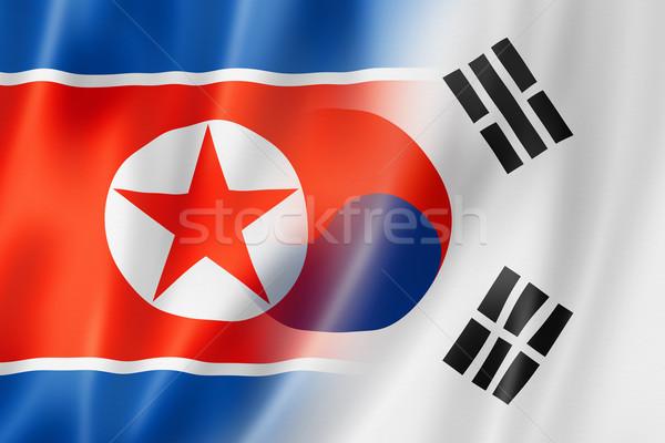 North Korea and South Korea flag Stock photo © daboost