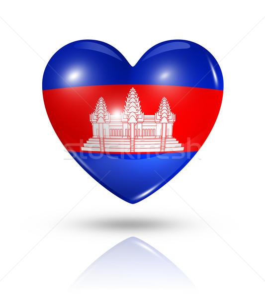 Szeretet Kambodzsa szív zászló ikon szimbólum Stock fotó © daboost