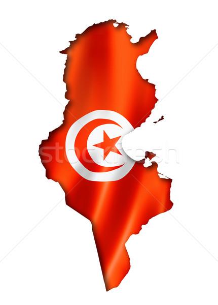 Tunisian flag map Stock photo © daboost
