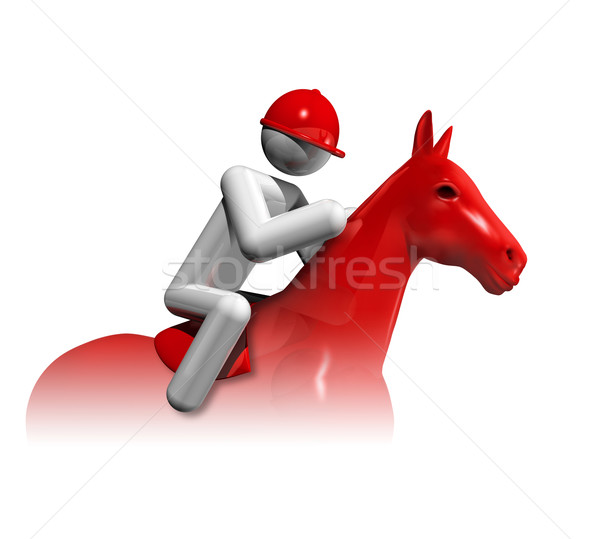 Equestrian Jumping 3D symbol Stock photo © daboost