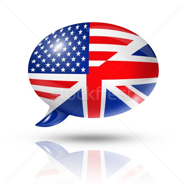 EUA bandeiras balão de fala tridimensional isolado branco Foto stock © daboost