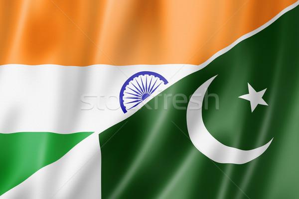 India Pakisztán zászló vegyes háromdimenziós render Stock fotó © daboost