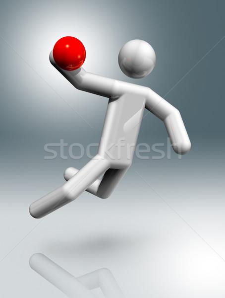 Kézilabda 3D szimbólum sportok háromdimenziós olimpiai játékok Stock fotó © daboost