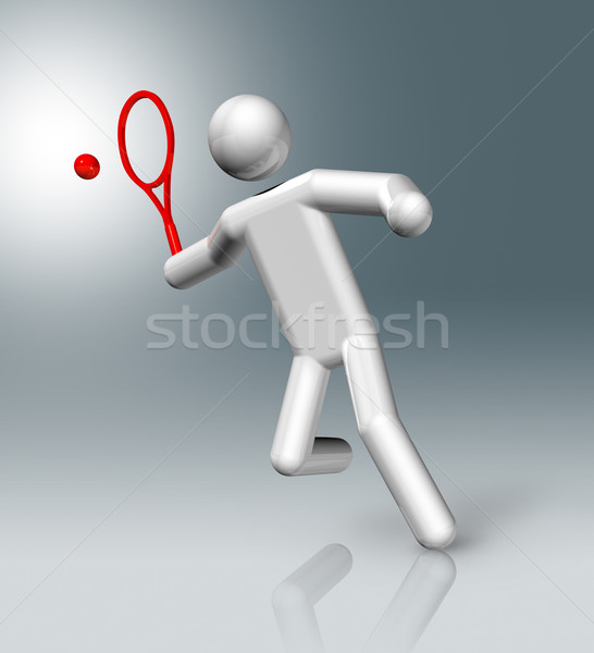 Tennis 3D symbol, Olympic sports Stock photo © daboost