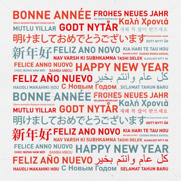 Foto d'archivio: Buon · anno · mondo · diverso · lingue · celebrazione · carta