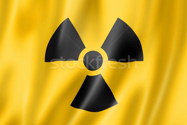 Stok fotoğraf: Radyoaktif · nükleer · simge · bayrak · üç · boyutlu · vermek