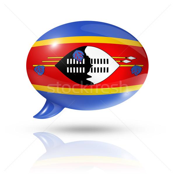 Suazi banderą dymka trójwymiarowy odizolowany biały Zdjęcia stock © daboost