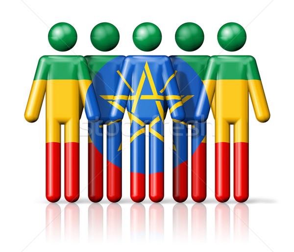 Banderą Etiopia stick figure społecznej społeczności symbol Zdjęcia stock © daboost