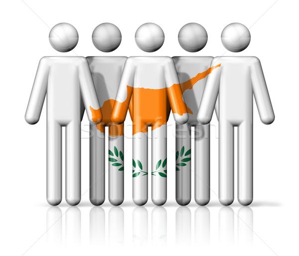 Zászló Ciprus pálcikaember társasági közösség szimbólum Stock fotó © daboost