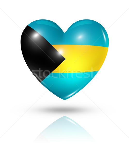 Amor Bahamas coração bandeira ícone símbolo Foto stock © daboost