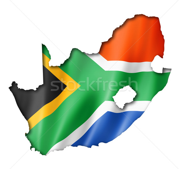 South African flag map Stock photo © daboost