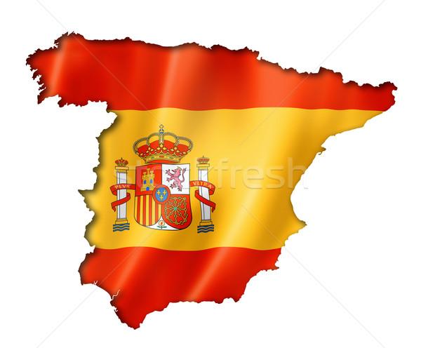 スペイン国旗 地図 スペイン フラグ レンダー ストックフォト © daboost