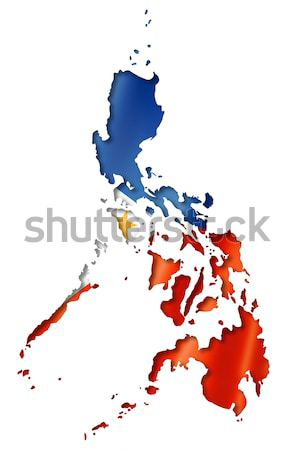 Philippines flag map Stock photo © daboost