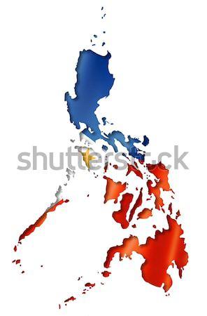 Filipinas bandeira mapa tridimensional tornar isolado Foto stock © daboost
