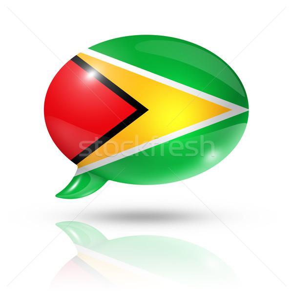 Stok fotoğraf: Bayrak · konuşma · balonu · üç · boyutlu · Guyana · yalıtılmış · beyaz