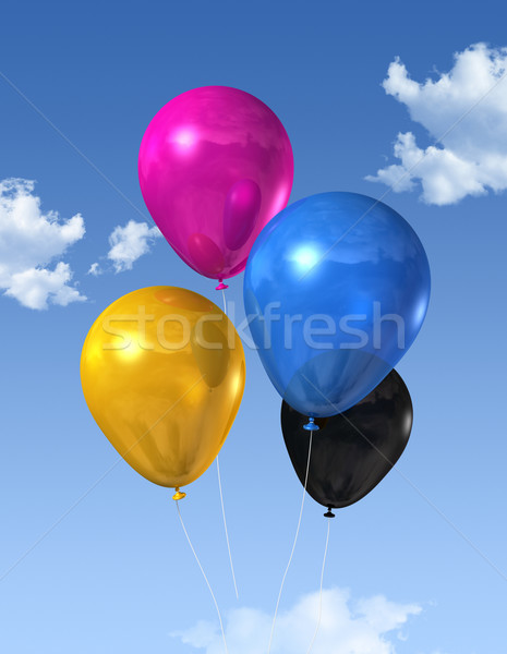 CMYK colored balloons on a blue sky Stock photo © daboost