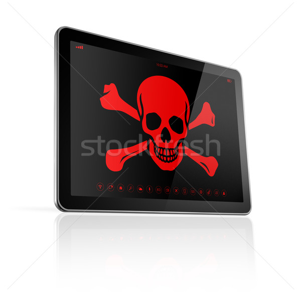 Stock photo: Tablet PC with a pirate symbol on screen. Hacking concept
