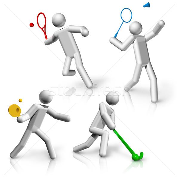 Spor semboller simgeler tenis badminton masa tenisi Stok fotoğraf © daboost