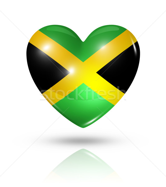 Love Jamaica, heart flag icon Stock photo © daboost