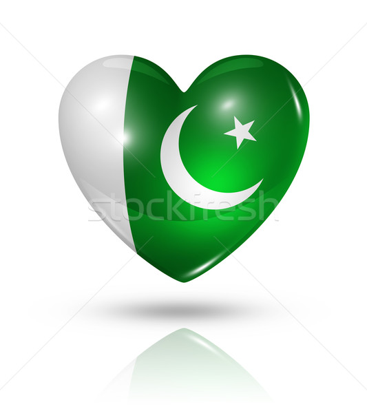 Szeretet Pakisztán szív zászló ikon szimbólum Stock fotó © daboost