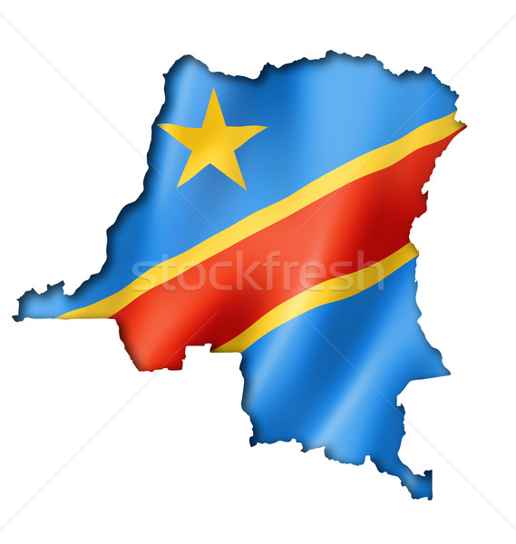 Democratic Republic of the Congo flag map Stock photo © daboost