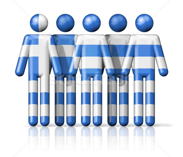 Zászló Görögország pálcikaember társasági közösség szimbólum Stock fotó © daboost