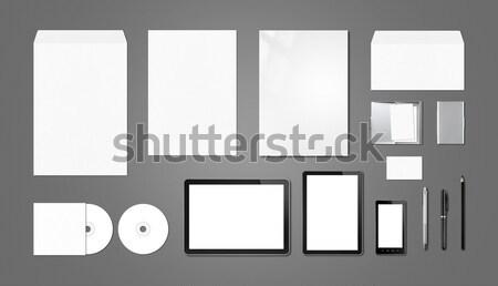 Corporate branding mockup template, dark grey background Stock photo © daboost