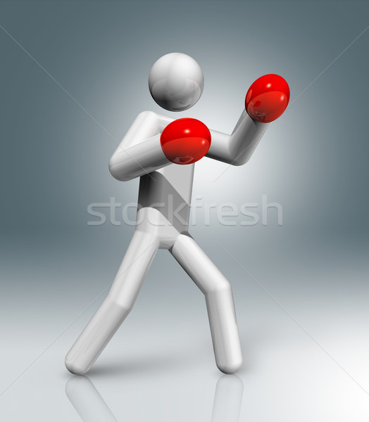 Boxing 3D symbol, Olympic sports Stock photo © daboost