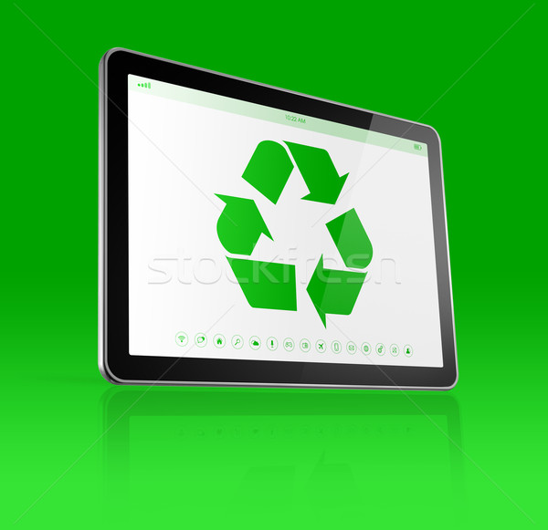 Digital tablet PC with a recycling symbol on screen. ecological  Stock photo © daboost