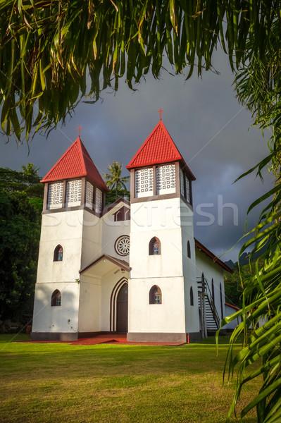 Kościoła wyspa dżungli krajobraz francuski polinezja Zdjęcia stock © daboost