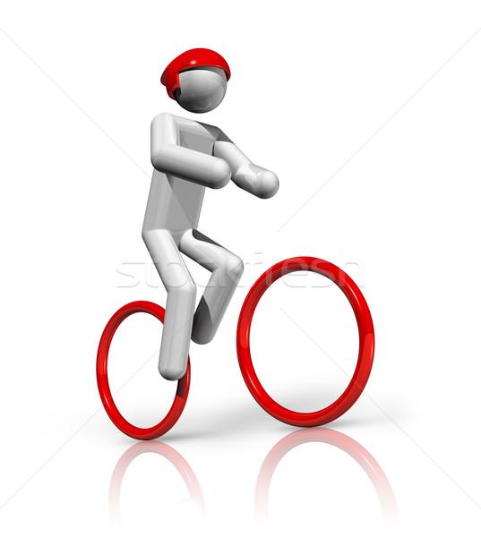 Ciclismo mountain bike 3D símbolo tridimensional esportes Foto stock © daboost