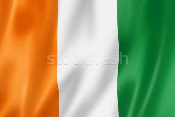 Zászló Elefántcsontpart háromdimenziós render szatén textúra Stock fotó © daboost