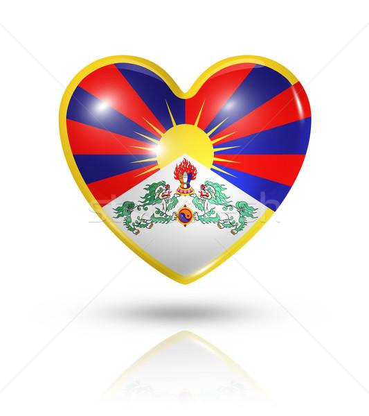 Foto stock: Amor · tibete · coração · bandeira · ícone · símbolo