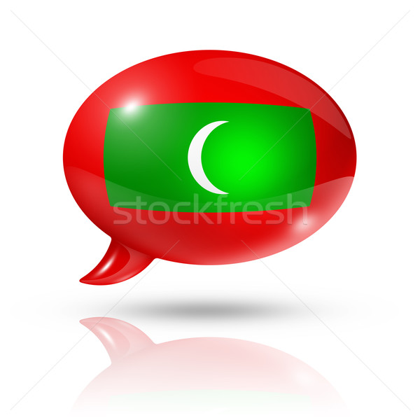 Мальдивы флаг речи пузырь изолированный белый Сток-фото © daboost