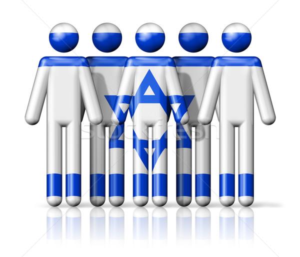 Stock photo: Flag of Israel on stick figure
