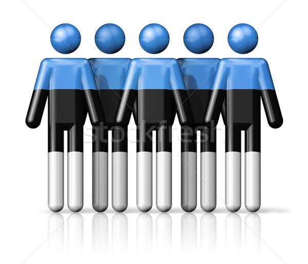Zászló Észtország pálcikaember társasági közösség szimbólum Stock fotó © daboost