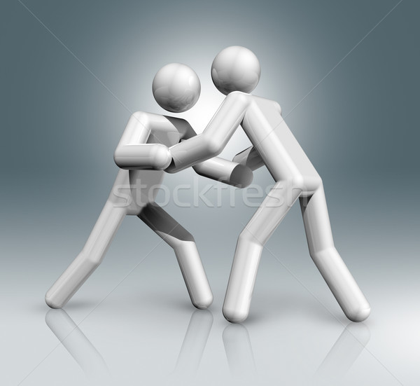 Wrestling 3D symbol, Olympic sports Stock photo © daboost
