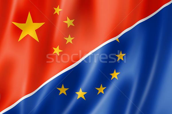 Китай Европа флаг смешанный оказывать Сток-фото © daboost