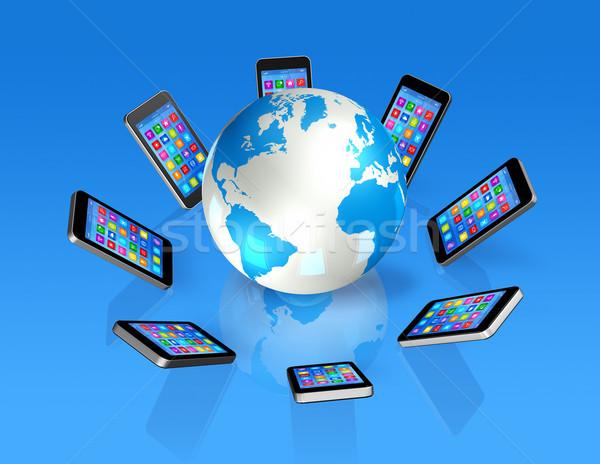Smartphones Around World Globe, Global Communication Stock photo © daboost