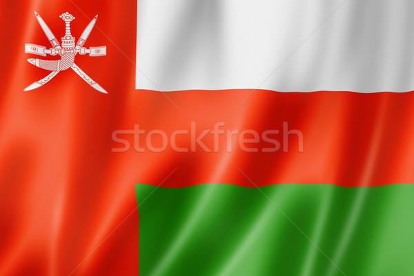 Umman bayrak üç boyutlu vermek saten doku Stok fotoğraf © daboost