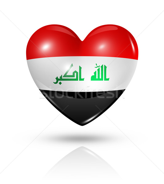 Sevmek Irak kalp bayrak ikon simge Stok fotoğraf © daboost