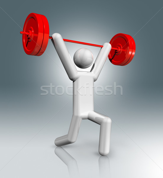 Gewichtheffen 3D symbool sport olympische spelen Stockfoto © daboost