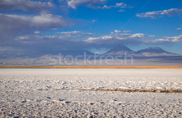 Foto stock: Paisagem · pôr · do · sol · nuvens · deserto · montanha · azul