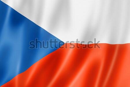 Çek bayrak Çek Cumhuriyeti üç boyutlu vermek saten Stok fotoğraf © daboost