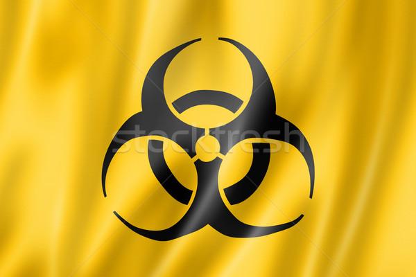 Bioveszély zászló háromdimenziós render szatén textúra Stock fotó © daboost