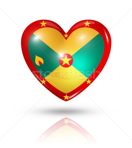 Szeretet Grenada szív zászló ikon szimbólum Stock fotó © daboost