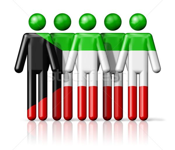 флаг Кувейт stick figure социальной сообщество символ Сток-фото © daboost