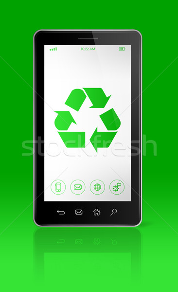 Smartphone with a recycling symbol on screen. environmental cons Stock photo © daboost